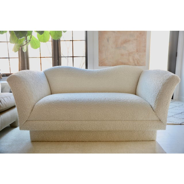 Incredible post Modern loveseat by Kagan for Directional. Extremely comfortable. Newly reupholstered in Persian Lambchop...