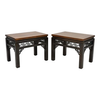 1980s Chinoiserie Gordons Inc Carved Fretwork Wooden Low Side Tables - a Pair For Sale