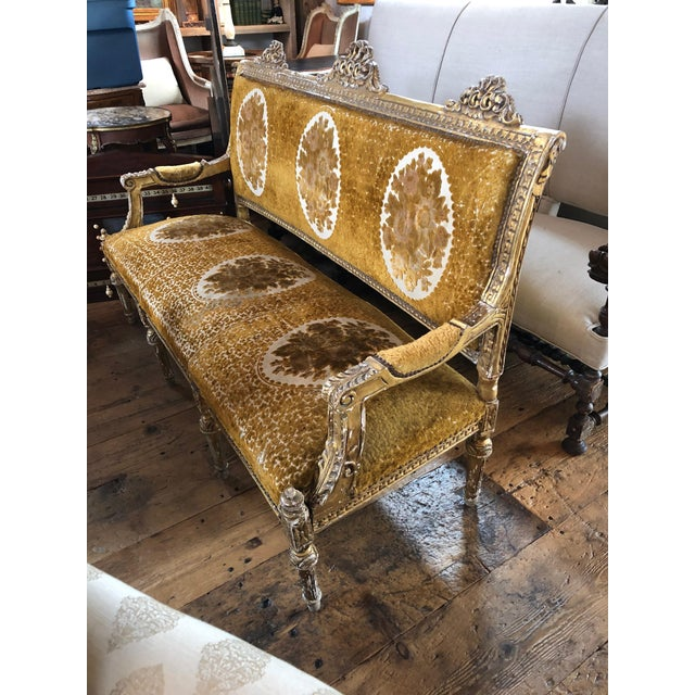 Meant for a Queen Giltwood and Cut Velvet Large French Sofa Settee For Sale - Image 11 of 12