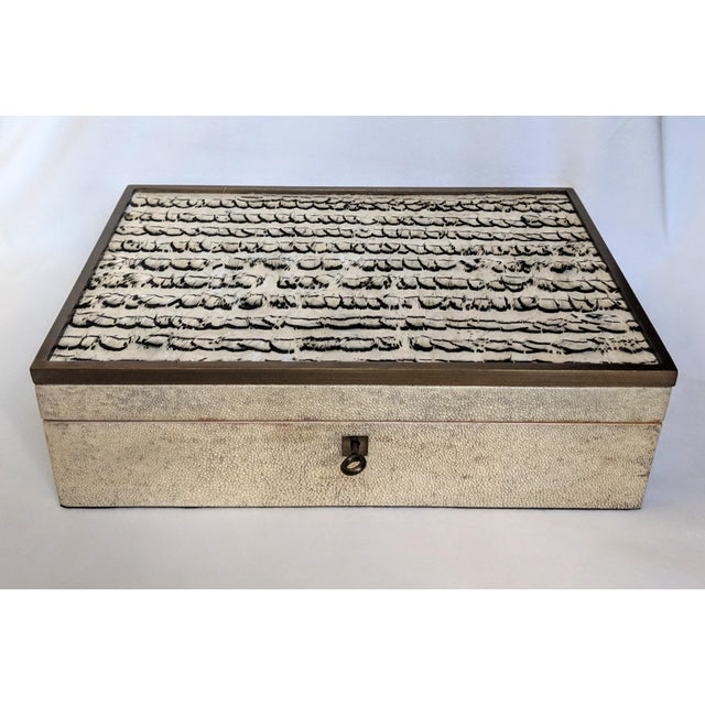1980s R & Y Augousti Shagreen & Feather Box For Sale - Image 10 of 10