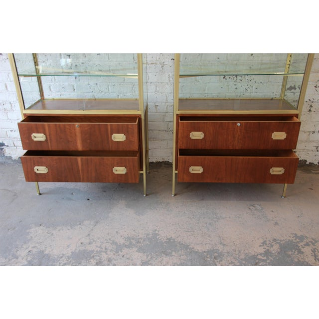 1960s Baker Furniture Hollywood Regency Campaign Style Lighted Display Cabinets - a Pair For Sale - Image 5 of 13