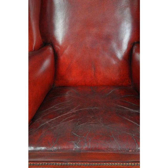 Red Wingback Chair, England For Sale - Image 8 of 12