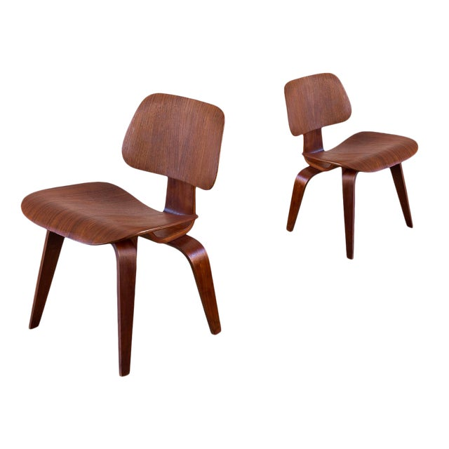 Early Eames Walnut Dcw Chairs for Herman Miller - a Pair For Sale
