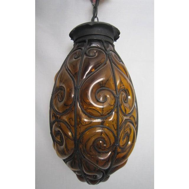 Italian Encased Amber Glass Pendant - Image 2 of 5