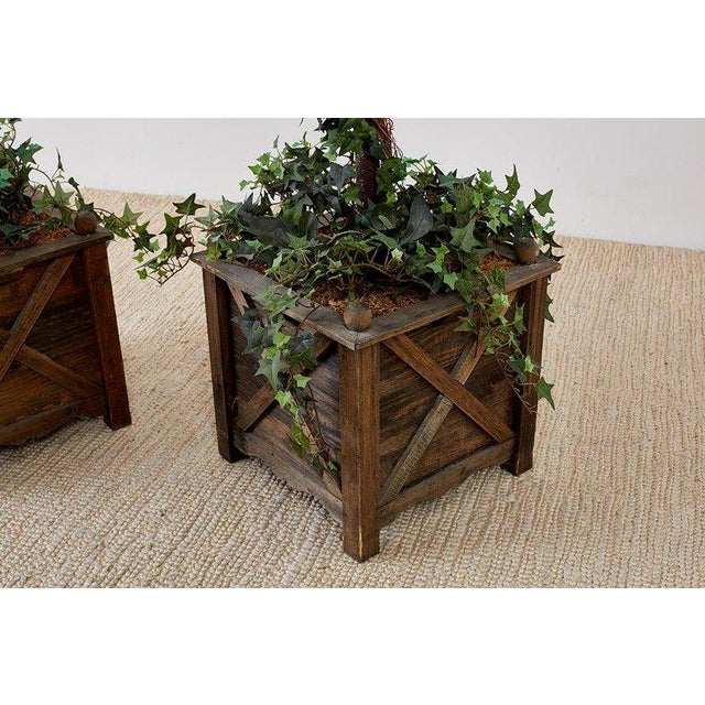 Pair of Neoclassical Faux Ivy Topiary Trees For Sale - Image 4 of 13