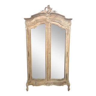 19th Century Louis XV Antique White Mirrored Armoire