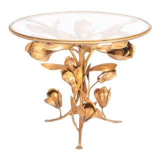 Vintage Hollywood Regency Gilt Floriform Side Table For Sale