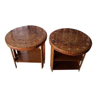 Vintage Moroccan Arabesque Patterned Mother-Of-Pearl Inlaid Side Tables - a Pair For Sale