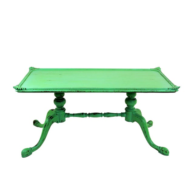 Vintage Georgian Style Green Painted Coffee Table For Sale
