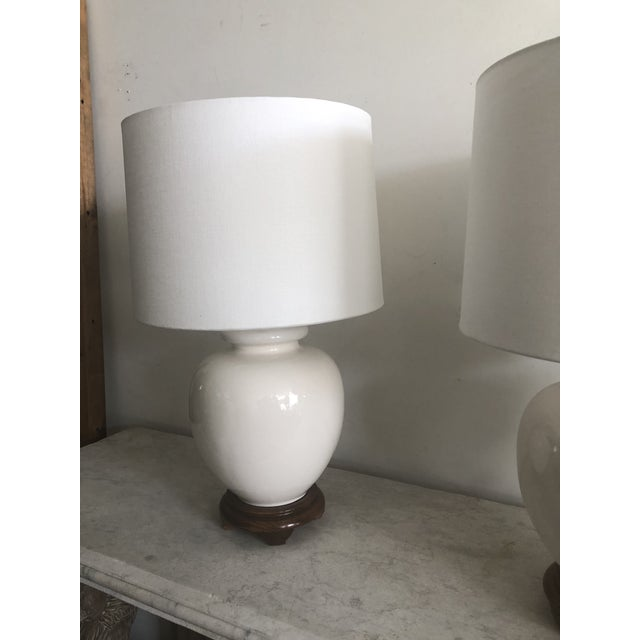 Mid-Century Modern Mid-Century White Turnip Shape Lamps - A Pair For Sale - Image 3 of 8