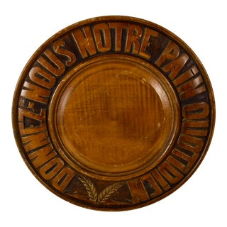 Rustic French Provençal Carved Wood Motto & Wheat Bread Board For Sale
