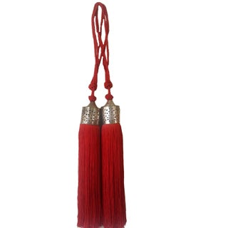 Moroccan Red Silk Tassel - A Pair