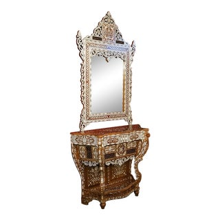 Moroccan Bone and Mother of Pearl Inlaid Console Table and Mirror For Sale