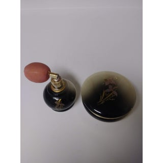 Vintage Italian Floral Hand Carved Black and Tan Alabaster Perfume Atomizer Bottle and Matching Trinket Box Preview