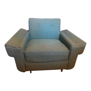 Mid-Century Turquoise Club Chair For Sale