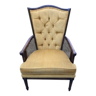 1970s Mid Century Tufted Velvet Wingback Chair