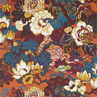 Sample - Schumacher Shanghai Peacock Wallpaper in Cinnabar For Sale