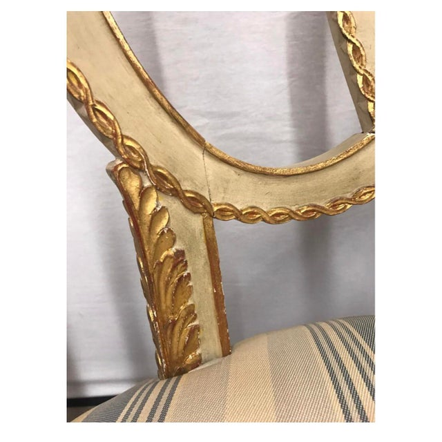 1920s Pair of Antique French Cream Painted Giltwood Armchairs For Sale - Image 5 of 13