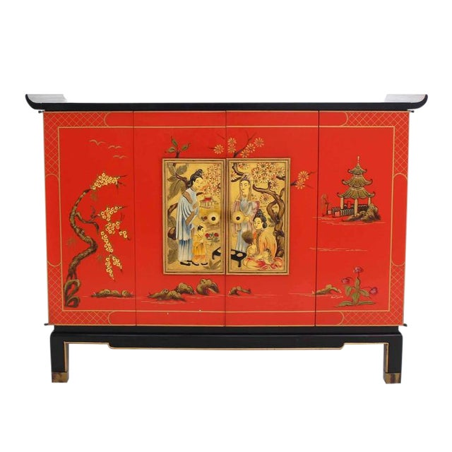 Asian Black and Red Lacquer 2-Tone Cabinet Bachelor Chest For Sale - Image 11 of 11