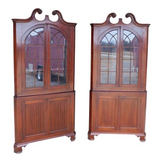 Antique Mahogany Chippendale Style Corner Cabinets - a Pair For Sale
