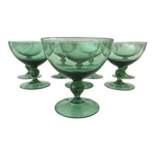 1950s Mid-Century Modern Green Glass Champagne Coupes - Set of 8