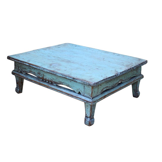 Chinese Distressed Rustic Light Blue Low Kang Table - Image 3 of 4