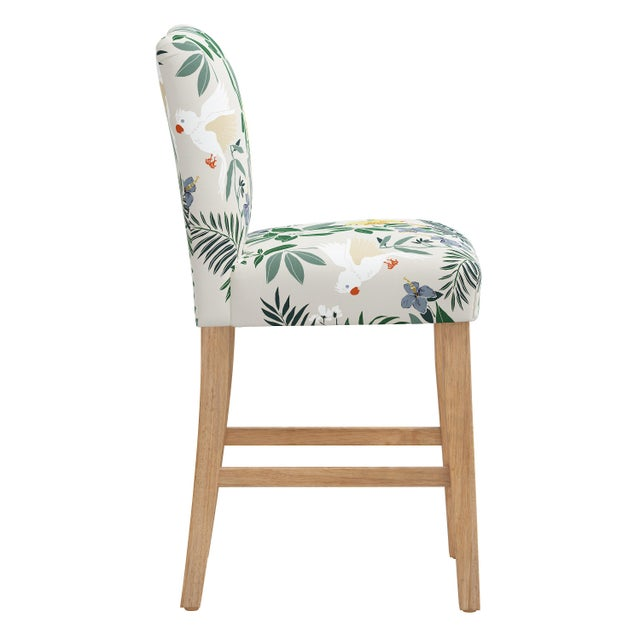 Transitional Counter Stool in Belize Chinoiserie Cream For Sale - Image 3 of 8