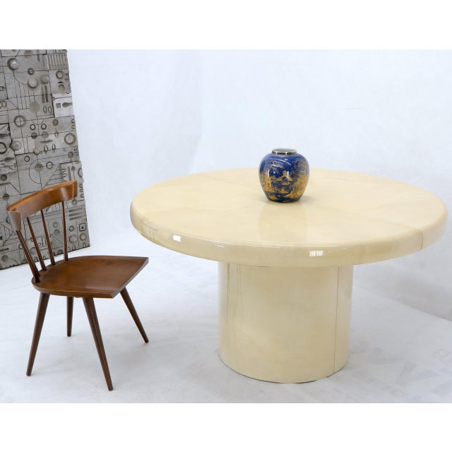"Large 53"" diameter Mid-Century Modern round parchment goat skin dining table with two 24"" long extension leaves or boards...."