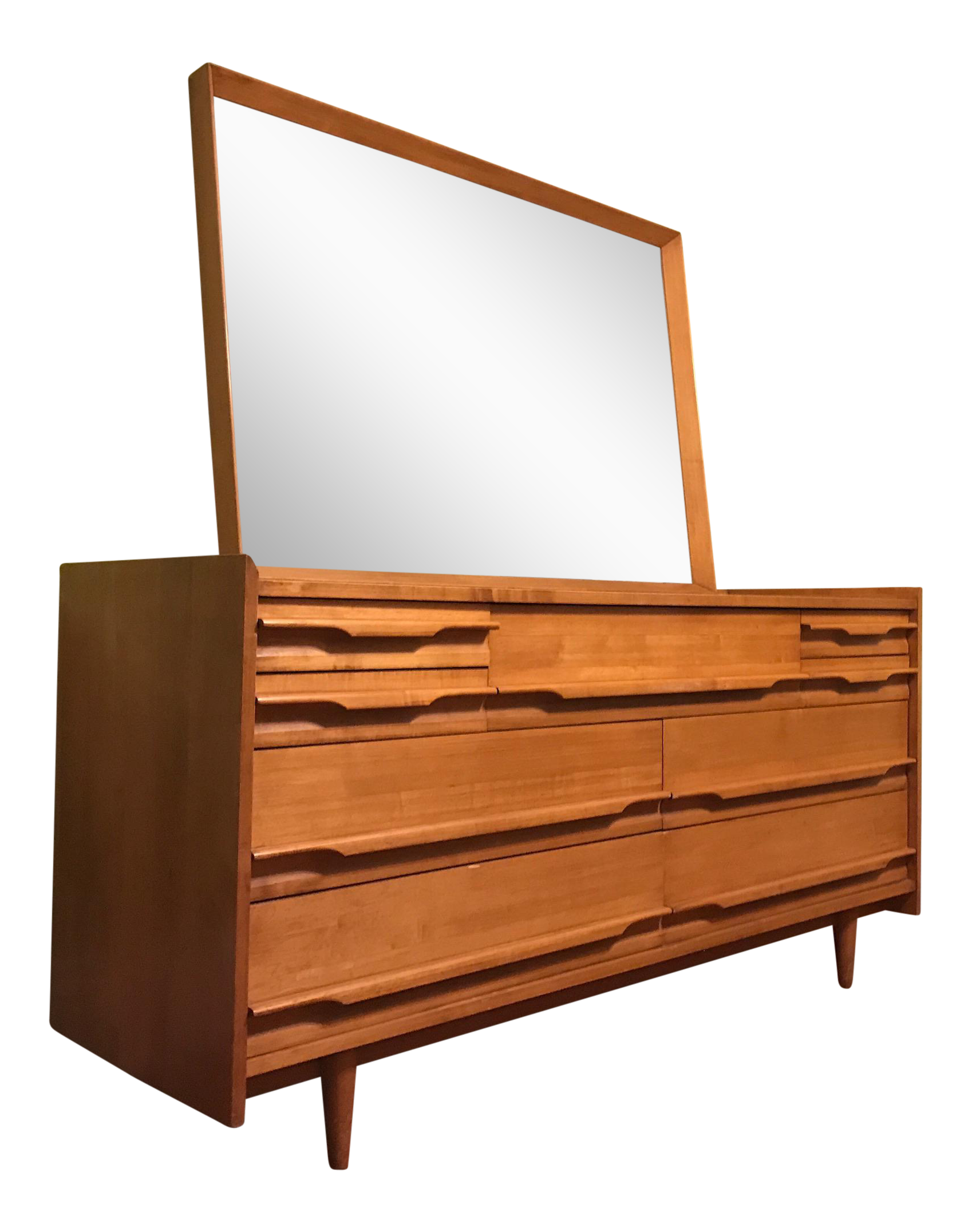 Mid Century Modern Blonde Wood Chest Of Drawers With Mirror Chairish