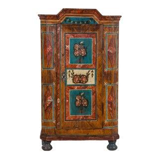 19th Century Antique Folk Art Painted Austrian Armoire For Sale