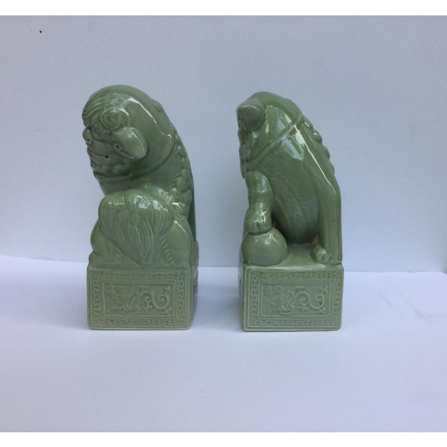 Green Celadon Foo Dogs - A Pair - Image 5 of 6