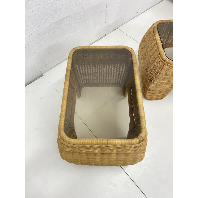 Mid-Century Modern Hand Made Sculptural Wicker Rattan Side Tables - a Pair For Sale - Image 11 of 13