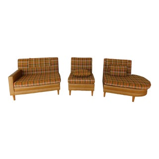 Vintage Mid Century Faux Ostrich & Plaid 3 Section Sofa For Sale