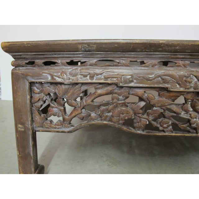 Antique Asian Chinese Solid Wood Coffee Tea Table For Sale - Image 9 of 11
