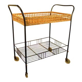1960s Country Wicker Tray Bar Cart For Sale