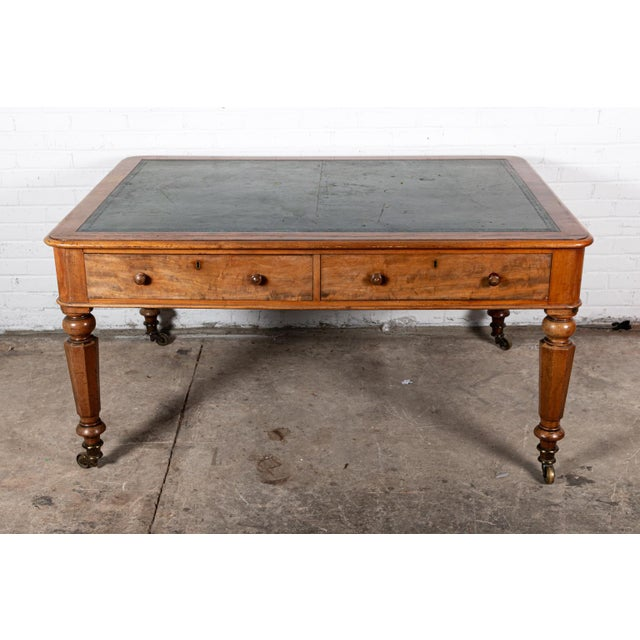 20th Century English Leather Top Writing Desk For Sale In New York - Image 6 of 6