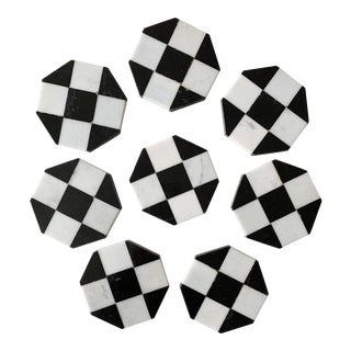 Black & White Marble Coasters - Set of 8 For Sale