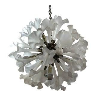 Vintage Murano Glass Lily Flowers Brass Sputnik Chandelier