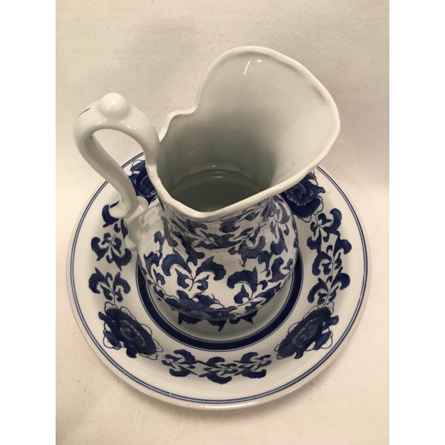 Ashley Belle Cobalt Blue & White Floral Design Pitcher and Bowl Set For Sale - Image 6 of 9
