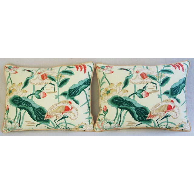 Egrets & Lotus Blossom Pillows - a Pair - Image 3 of 11