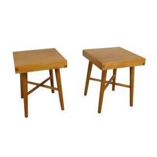 Mid Century Modern Pair Studio Crafted Small Square Oak Tables Stools A For Sale