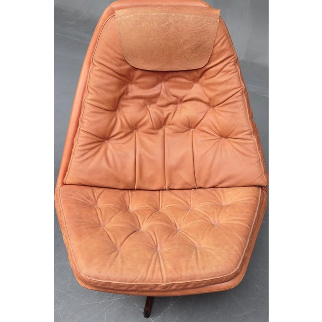 Animal Skin Danish Leather Swivel Chairs & Ottomans - A Pair For Sale - Image 7 of 11
