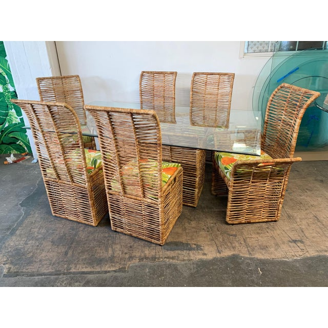 Rattan Rope Wrapped 7-Piece Dining Set For Sale - Image 11 of 11