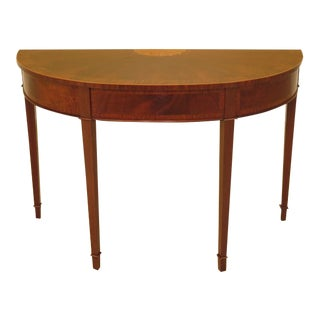 English Round Federal Mahogany Demilune Console Table For Sale