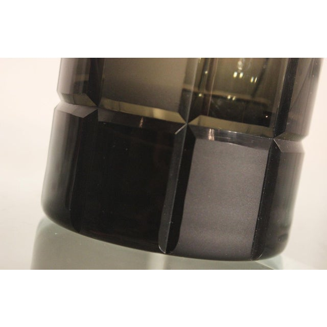 Smoke Grey Glass Vase, Orrefor Legend Square Style - Image 7 of 10