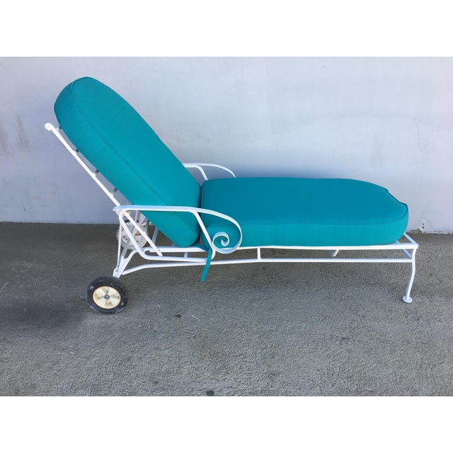 Steel Scrolling Reclining Outdoor / Patio Chaise Lounge by Woodard For Sale In Los Angeles - Image 6 of 11