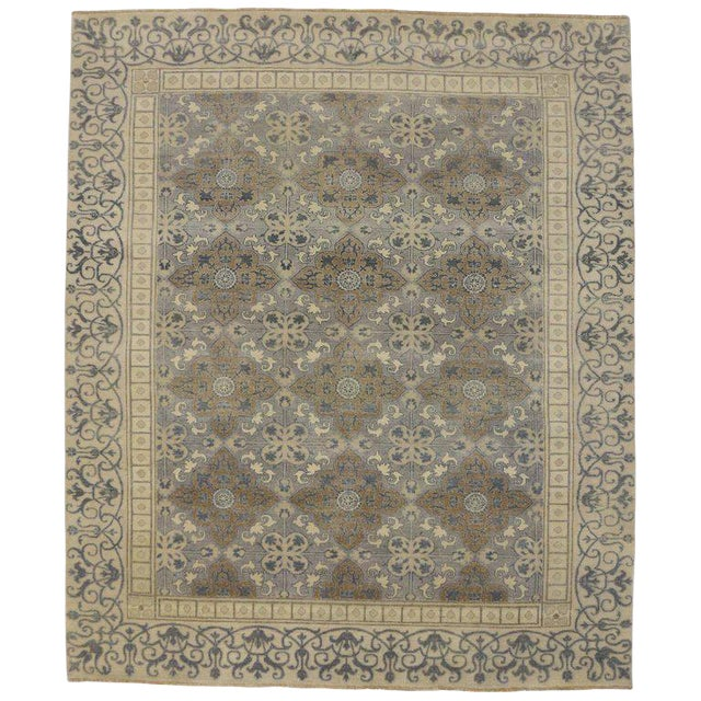 Transitional Area Rug With Khotan Pattern - 9′ × 10′7″ For Sale