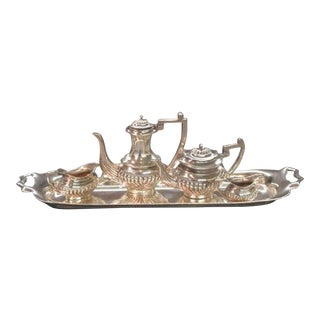 1930s Georgian A. Marston & Co. Sterling Silver Miniature Tea Set - 5 Pieces For Sale