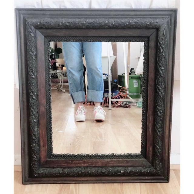 1920s Antique Framed Wood Mirror For Sale - Image 5 of 5