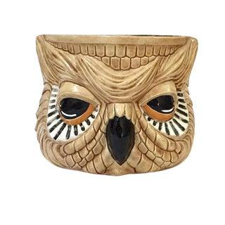 Mid Century Modern Ceramic Planter Owl Sculpted Planter Pot For Sale